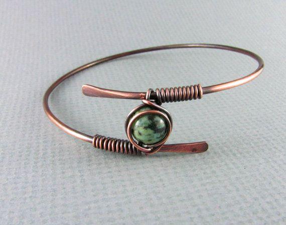 Copper Bracelet Wire Wrapped Bracelet African by PolymerPlayin