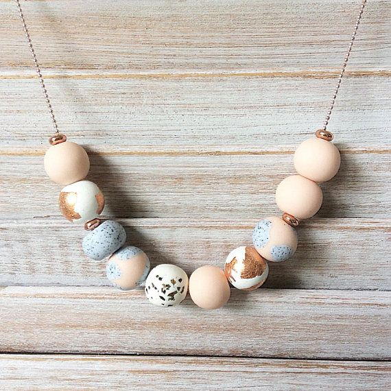 Pastel blush necklace polymer clay necklace beaded necklace