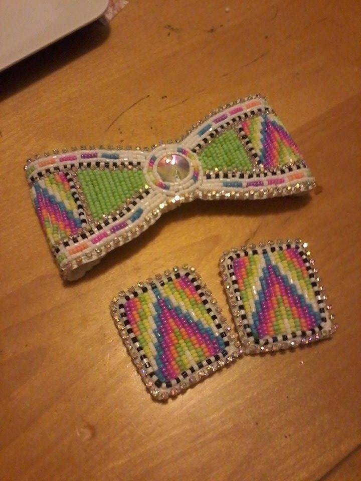 Native american beaded rosettes strips headbands