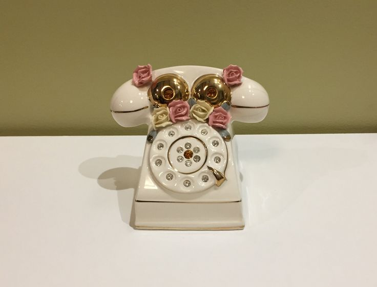 Vintage Napco Telephone Bank with Rhinestones and Flowers by datedgoods on Etsy
