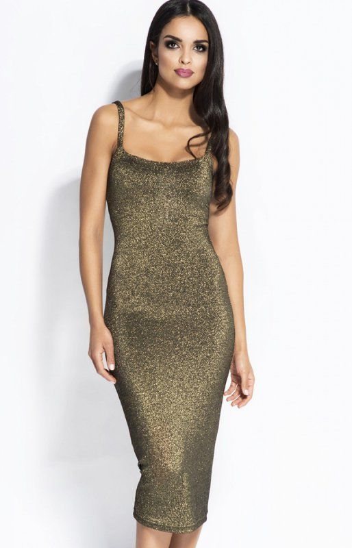 Dursi Charme sukienka złota Ekskluzywna sukienka, wykonana z elastycznego materiału, idealnie dopasowuje się do sylwetki