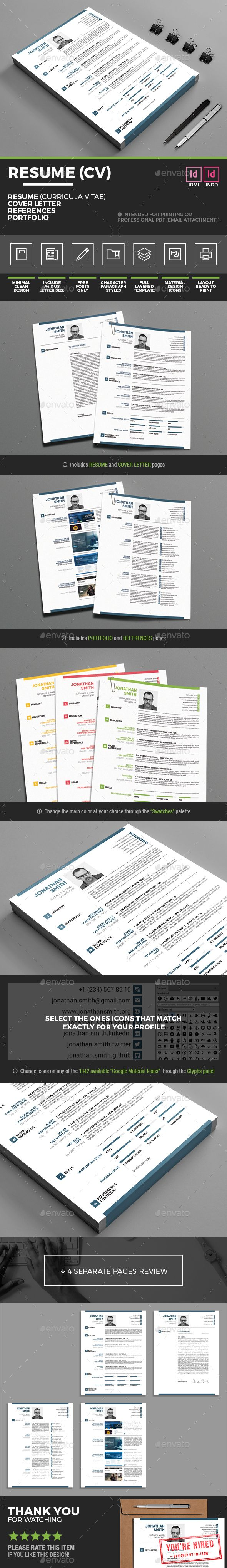 Cv Templates Pdf%0A Resume Template  Minimal Clean Resume  Curricula Vitae  InDesign INDD