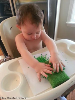 Sponge Painting: An easy sensory painting activity for toddlers