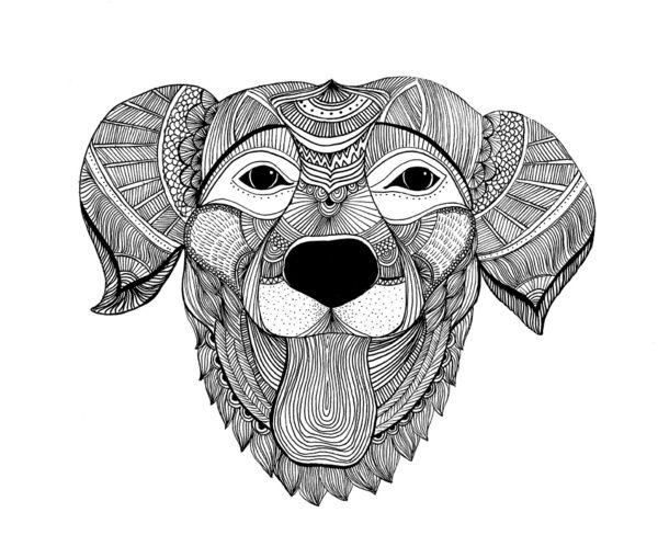 Zentangle Dog Art Print Dog prints