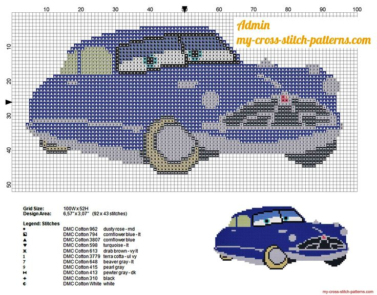 Disney Cars x-stitch