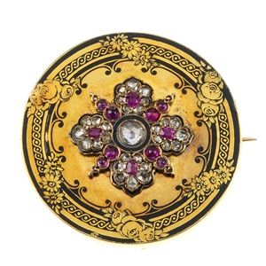 A late 19th century gold diamond, ruby and enamel brooch