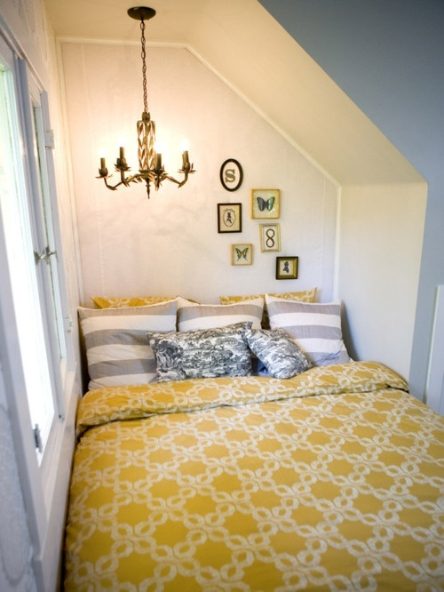yellow and grey bedding + great use of an awkward space