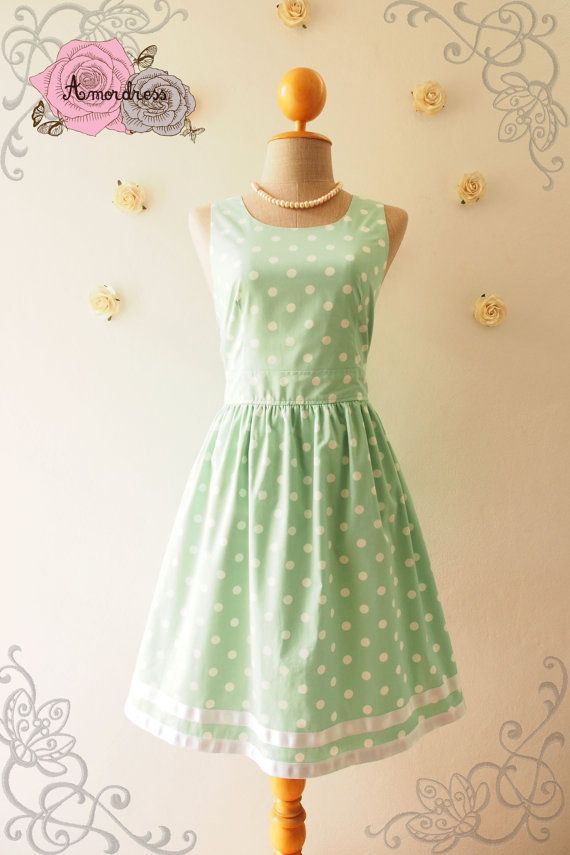 A Carnival  Sage Green Dress Summer Dress Green by Amordress