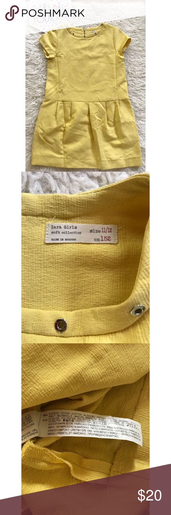 """Zara Girls Soft Collection Yellow Grommet Dress In excellent pre-loved condition Zara Girls dress in size 11/12. Grommet detail on the neck area with exposed middle zipper in the back. No flaws. Measure about27"""" length, 15"""" bust, 16"""" waist. Oversized style. ❌No trades or modeling. Always open to reasonable offers. Bundle more items together to save more. Thank you‼️ Zara Dresses Casual"""