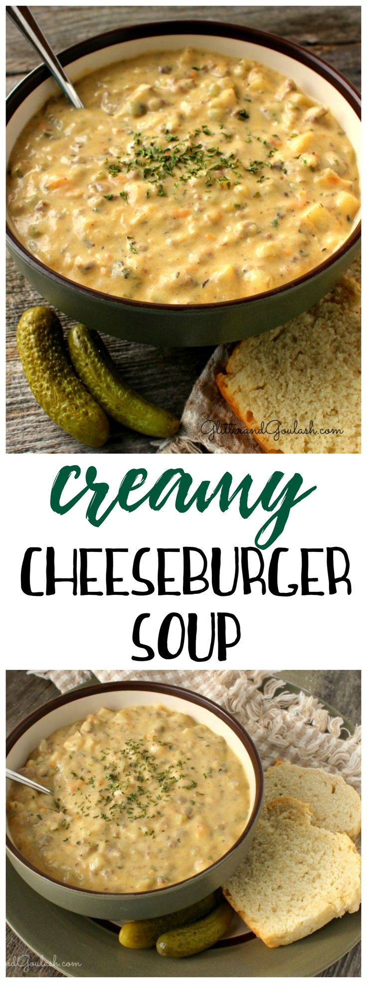 We make this creamy cheeseburger soup at least once a week in the winter! Best comfort food ever. Definitely a recipe to save for dinner. Love the pickles (Best Ever Soup)