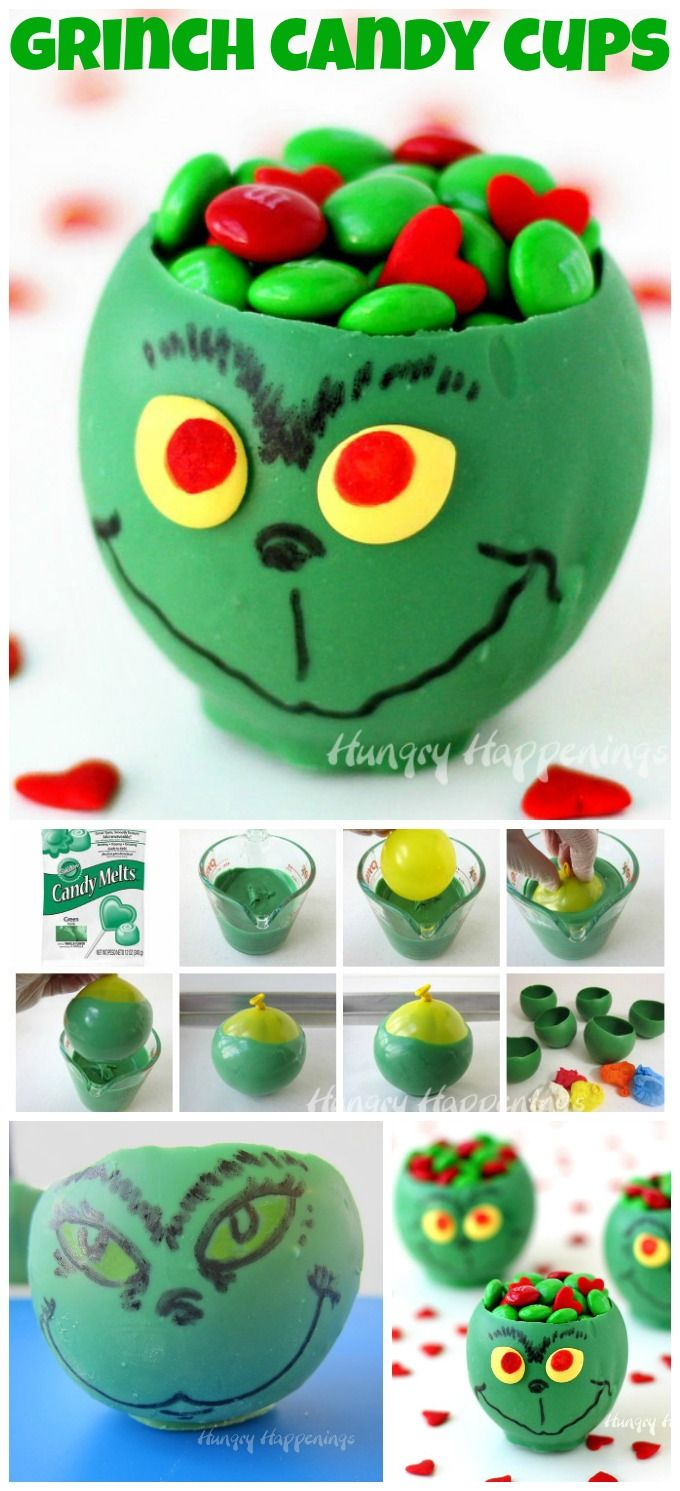 Use balloons to create green candy bowls then decorate them to look like the Grinch. Fill with candies and give as Christmas gifts or serve as party treats.