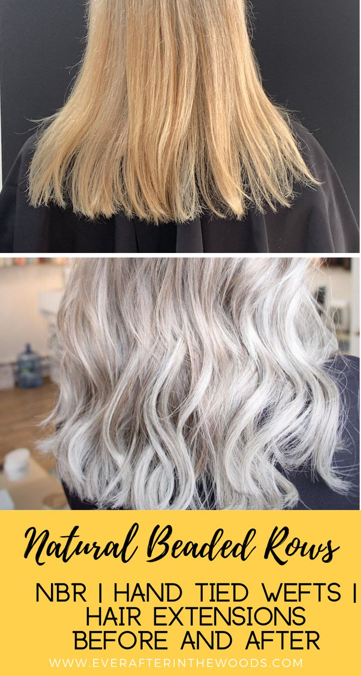NBR Natural Beaded Rows Hair Extensions Before and After