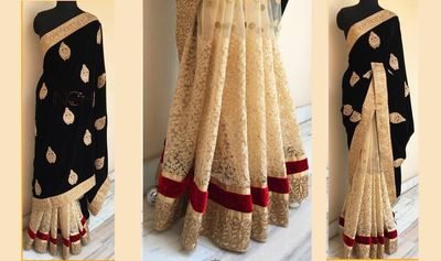 BLACK COLOR 60GM GEORGET EMBROIDERY WORK SAREE Bollywood Sarees Online on Shimply.com