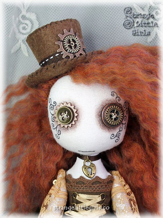Gothic Steampunk cloth art doll with by StrangeLittleGirlsUK