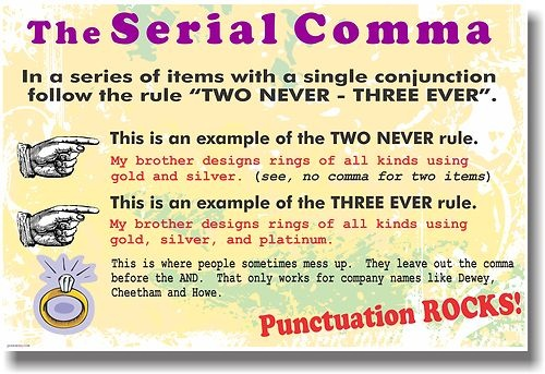 New Language Arts Poster The Serial Comma Punctuation Rocks Educational   eBay