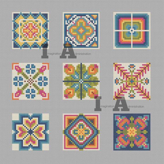 Modern Cross Stitch Pattern, Scandinavian Flower Cross Stitch, Norwegian Needlework, Modern Flower, Graphic, Geometric Cross Stitch Pattern
