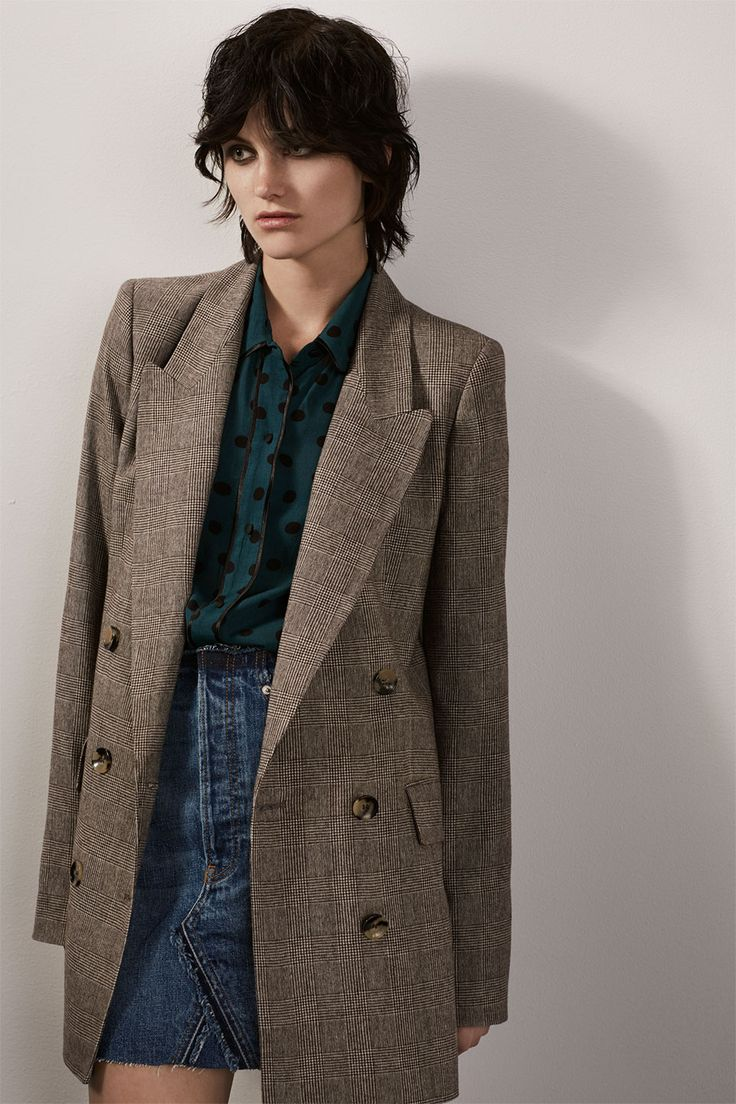 ZARA - #zaraeditorial - WOMAN - RETRO FICTION Checked double-breasted jacket with polka dot shirt with contrasting piping seams