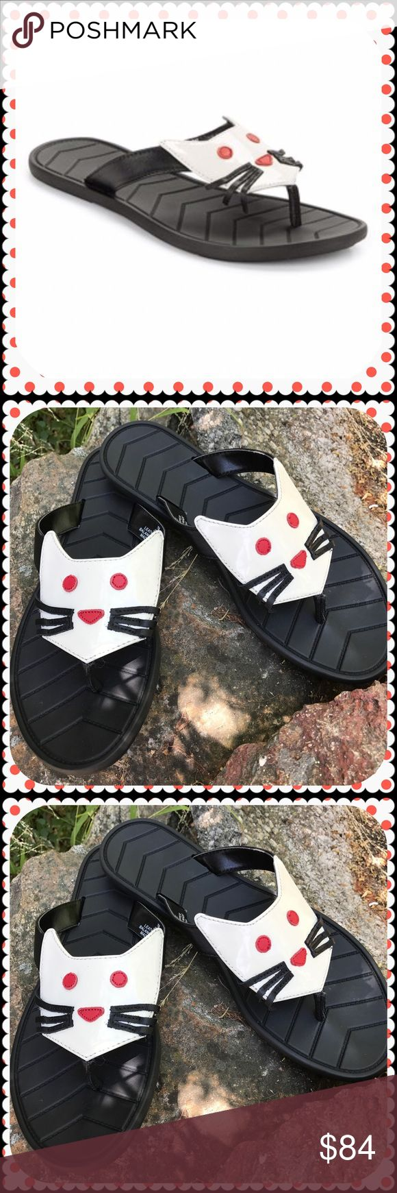 Karl Lagerfeld patent leather flip flops New in box! Karl Lagerfeld Paris Jouy patent leather kitty cat sandals. Leather upper. Synthetic lining and sole. Sold out everywhere! 😻 Size 7. Heel to toe length measures 10 inches. Cat face is cream white color, not pure white. Karl Lagerfeld Shoes Sandals