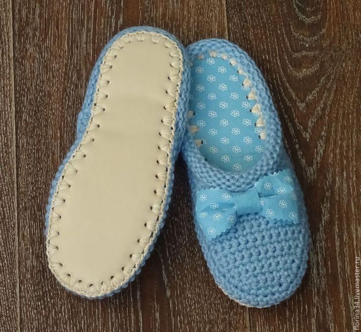Купить Тапочки-шлепки Китти в голубом - тапочки, тапочки домашние, Тапочки ручной работы