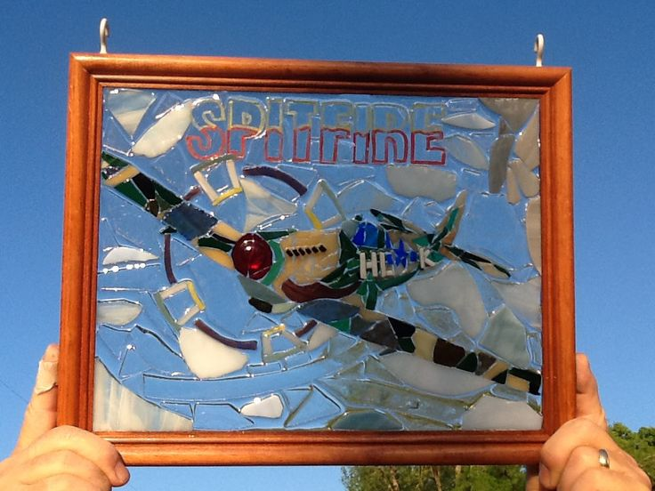 Stained Glass WW2 Spitfire Super Marine Airplane Window Art Sun Catcher, Veteran Gift, Fathers Day Gift,one of a kind by MountainMosaicsmore on Etsy