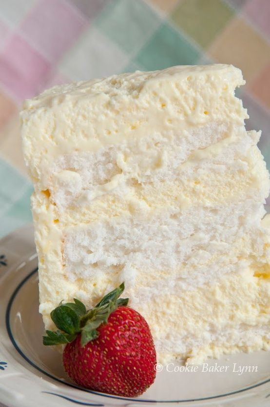 Lemon Icebox Easter Cake: made with angel food cake. Light as air. Pinner says~Heaven on earth.The first bite will melt in your mouth...