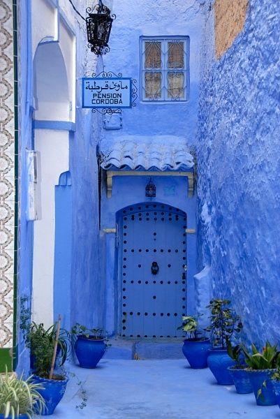 Exterior entrance in Mediterranean blue