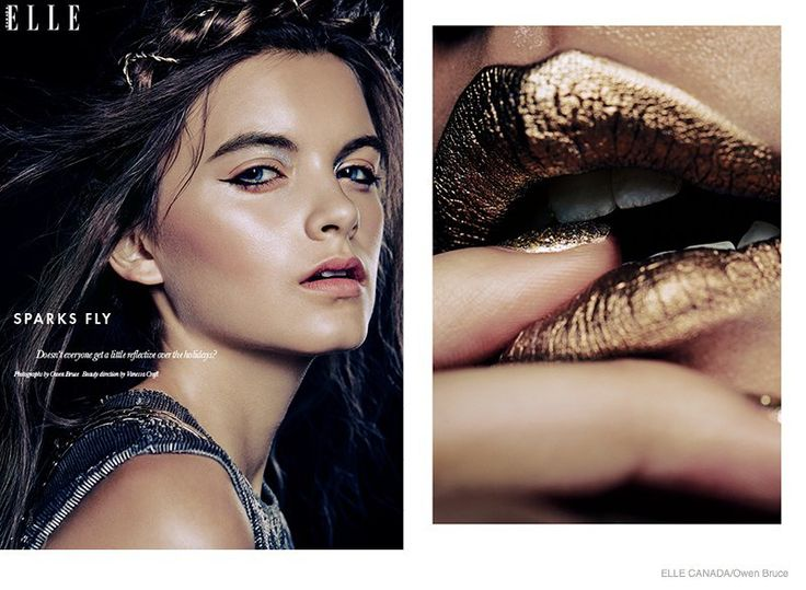 Gold Lips |Emma & Ashley Model Glittery Holiday Makeup Looks in Elle Canada #goldmakeup