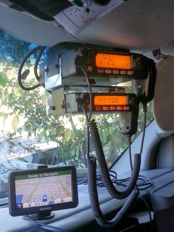 2 meter and 70 cm radios roof mounted in my van. Yaesu FT-2900 and FT-1907