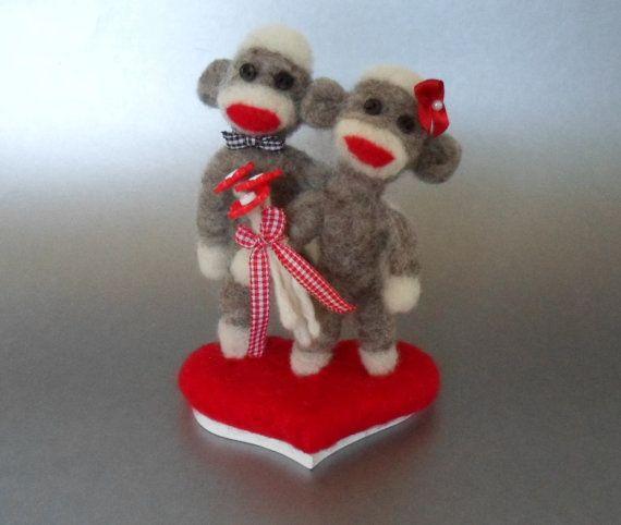 Sock Monkey Wedding Cake Topper Needle Felted Miniature on