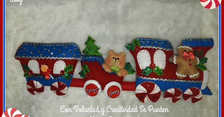 Hola!   Hoy vamos a elaborar este hermoso tren navideños en fieltro para decorar nuestra casa esta navidad