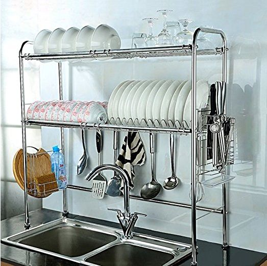 OVER SINK DISH RACK TO DECLUTTER KITCHEN COUNTERS AROUND THE SINK VIA AMAZON