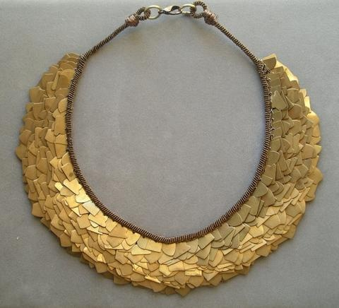 bib necklace bronze metal industrial antiqued gold from etsy  (joanna? no credit found)