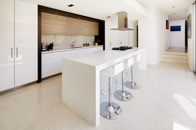 Spacious and bright kitchen.