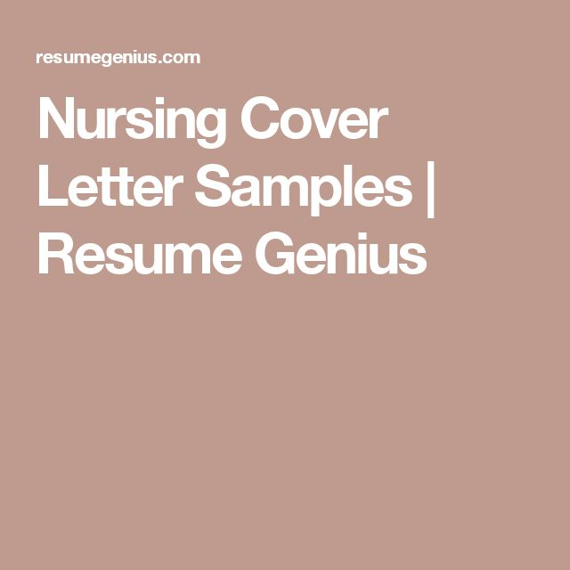 nursing cover letter samples resume genius. Resume Example. Resume CV Cover Letter