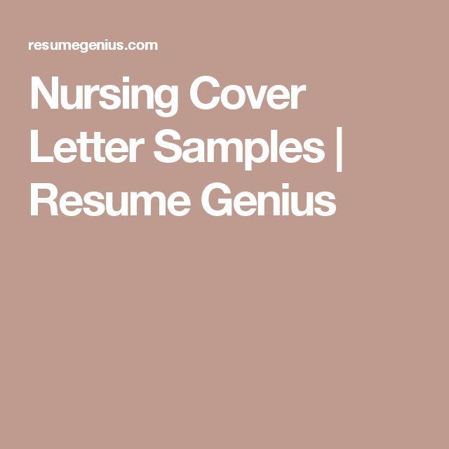 Nursing Cover Letter Samples | Resume Genius