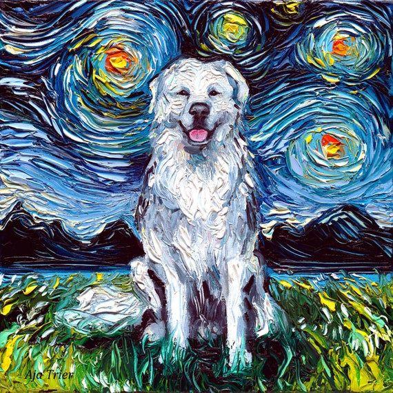 Great Pyrenees Art Starry Night Art Print Dog Art By Aja Choose