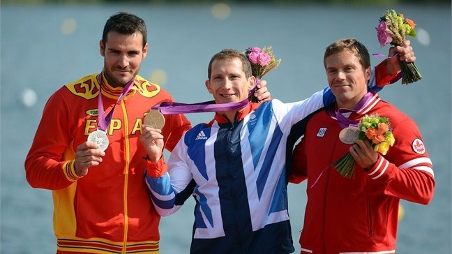 Gold medallist Ed Mckeever of Great Britain during the medal ceremony for the Men's Kayak Single (K1) 200m Canoe Sprint. (Photo by Harry How/Getty Images)