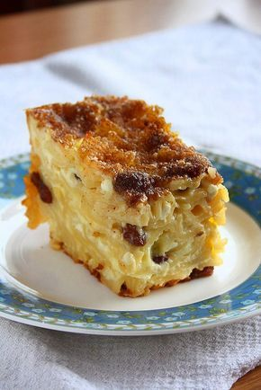 Noodle Kugel: 1lb medium egg noodles, 6 eggs, 1.5C milk, 1C cottage cheese, 1C s…