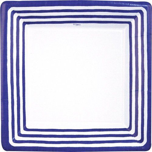 Entertaining with Caspari Stripe Border Paper Dinner Plates, Blue, Pack of 8 by Caspari Inc.. $6.66. Made in the usa using environmentally-conscious raw materials. Pack of eight 10-1/4-inch paper dinner plates by caspari. Disposability reduces clean-up time so you can enjoy more time with friends and family. Made of extra-sturdy paper printed with non-toxic, water-soluble dyes. Stripe border design with narrow, dark blue stripes on a white ground. Adapt the elegance of a formal...
