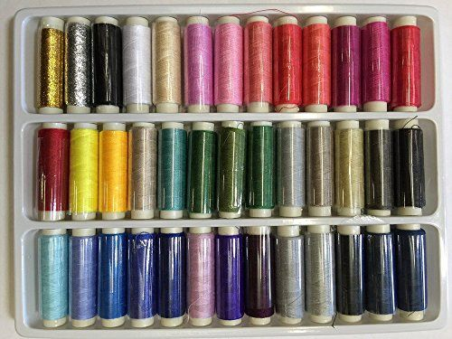 39 Assorted Color 200 Yard Per Unit Advanced Polyester Sewing Thread Spool Set -- You can find more details by visiting the image link.