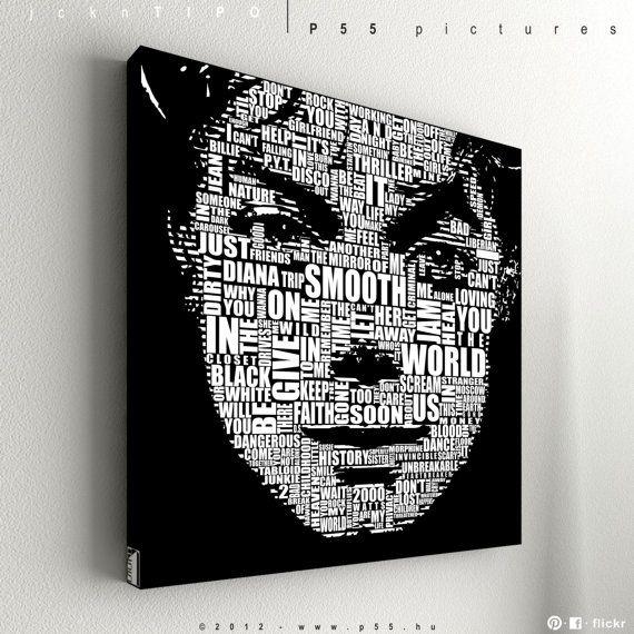 "P55 - Michael Jackson - Typography - acryl & vinyl artwork - 55 x 55 cm (21,6"" x 21,6"") on Etsy, $101.47 AUD"