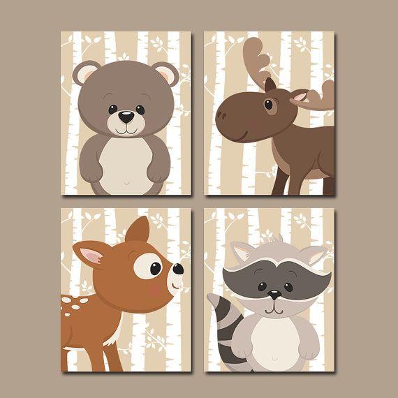 WOODLAND Kindergarten Wandkunst Birke Wald Tiere von