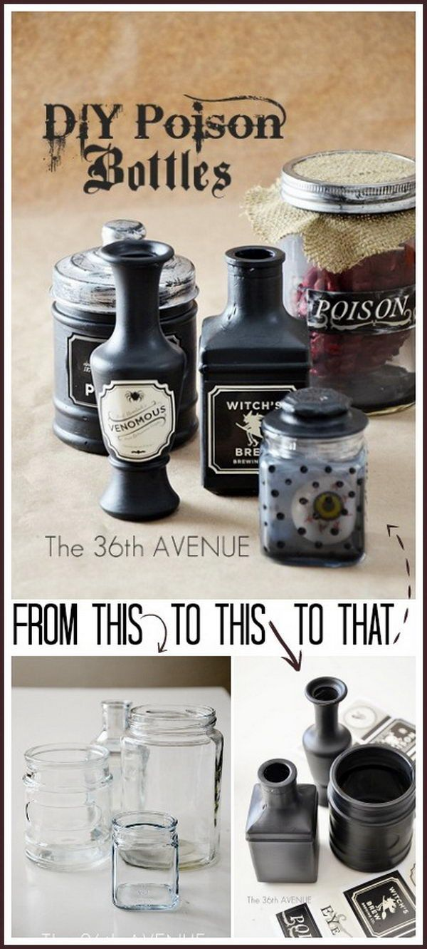 Easy DIY Poison Bottles Tutorial.