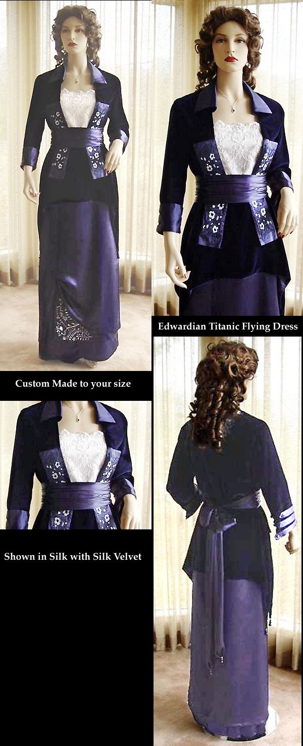 "Edwardian Titanic Flying Gown Costume CUSTOM MADE by Christine Hall. This is your chance to have a fabulous Edwardian Style Movie gown costume reproduced especially to your measurements by stellar Victorian seamstress, Christine Hall! ""This stunning Edwardian Flying dress is made entirely of beautiful navy silk velvet and navy silk satin/charmeuse."""