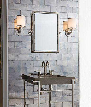 Versailles Glass Tile Feature Wall In Small Powder Room