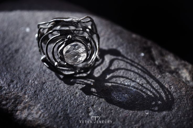 Icelandic Flower  Attractive ring with a clear quartz bead. This piece is insipired by fascinating natural phenomenom called Frost Flowers. They are most commonly found on sea ice in polar regions. By VitekJewelry