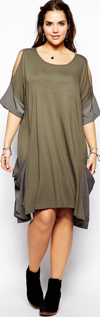 summer 2014 Short Casual Dress Travel Outfit for Plus Size in Jersey Khaki -   http://www.boomerinas.com/2014/05/31/wrinkle-free-jersey-clothing-for-travel-women-over-40/