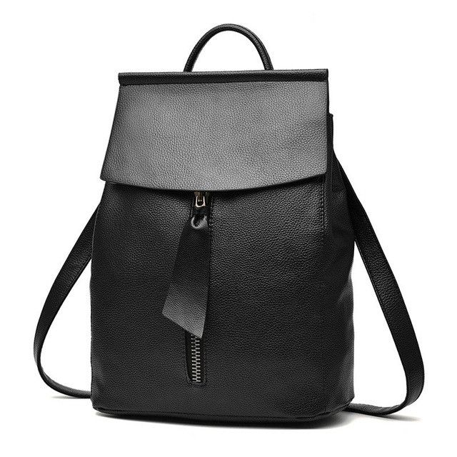 women leather backpack small minimalist solid black school bags for teenagers girls feminine backpack 3157 sac a dos femme