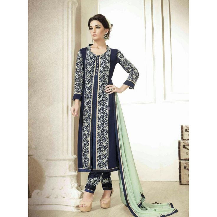 Navy Blue Georgette Indian #Churidar Kameez With Dupatta- $58.03