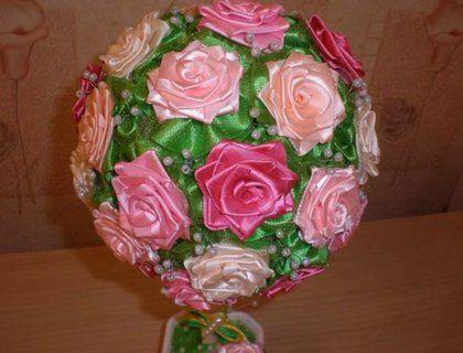 Топиарий из атласных лент своими руками: мастер класс, фото, сердце, как сделать цветы свадебные, пошаговое видео мк